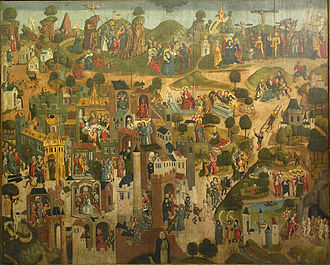 Life of Christ in art - The Passion shown in a number of small scenes, ca. 1490, from the Entry into Jerusalem through the Golden Gate (lower left) to the Ascension (centre top)
