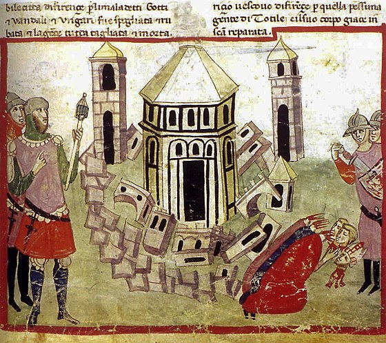 The Goth King Totila razes the walls of Florence during the Gothic War: illumination from the Chigi manuscript of Villani's Cronica Totila fa dstruggere la citta di Firenze.jpg