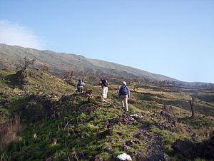 Buea - Tourists climbing Mount Cameroon in Buea