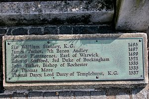 Thomas Darcy, 1st Baron Darcy de Darcy - Sign at the Tower Hill scaffold location