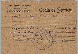 Transnistria Governorate - Transnistria Governorate Jewish Ghetto exit permit