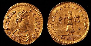 """Tremissis issued by Emperor Zeno. Zeno, whose original name was Tarasicodissa, was of Isaurian origin, and thus considered a """"barbarian"""" and not loved by the people of Constantinople. Basiliscus successfully exploited his unpopularity to get the purple for himself, only to become unpopular in his turn, mainly for his religious belief."""