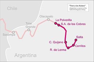 Tren a las Nubes - Image: Tren nubes map