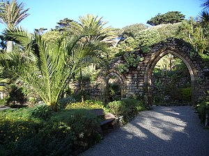 Tresco, Isles of Scilly - The arch from the wall of the mediaeval monastery in Tresco Abbey Gardens