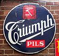 Triumph Pils, t Hamerken Brugge, enamel advertising sign.JPG