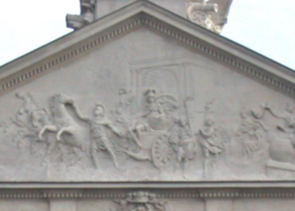 Ślepowron coat of arms - The triumph of Marcus Valerius Corvinus in the pediment of the Krasiński Palace in Warsaw
