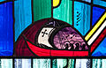 Tullow Church of the Most Holy Rosary North Transept Window Bishop Daniel Delany Detail Sailboat with Nuns 2013 09 06.jpg