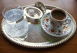Turkish coffee with Turkish delight. Turkish coffee is a UNESCO-listed intangible cultural heritage of Turks. Turkish coffee in Istanbul.jpg