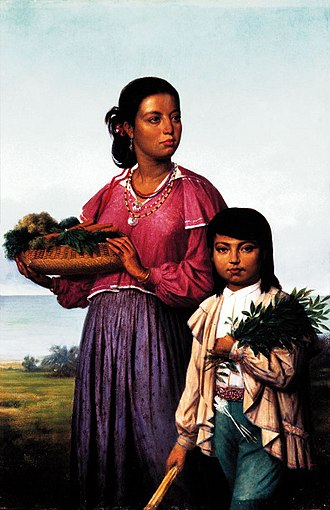 "Chitimacha - ""Two Chitimacha Indians"", painting by François Bernard, 1870"