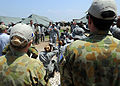 U.S. Army Gen. P.K. Keen, commanding general of Joint Task Force Haiti, talks to Airmen from the 24th Air Expeditionary Group March 15, 2010, before they leave Port-au-Prince, Haiti 100315-N-HX866-005.jpg