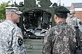 U.S. Army Maj. Gregory Sakimura, left, operations officer with the 1st Battalion, 17th Infantry Regiment, 2nd Brigade Combat Team, 2nd Infantry Division, shows Republic of Korea Army Lt. Col. Choi Jae Ho 130605-A-GP421-137.jpg