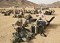 U.S. Marines with Battalion Landing Team, 3rd Battalion, 2nd Marine Regiment, 26th Marine Expeditionary Unit (MEU) set up communications gear June 8, 2013, in Al Quweira, Jordan, during exercise Eager Lion 2013 130608-M-BS001-002.jpg