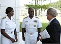 U.S. Navy Rear Adm. Earl L. Gay, center, commander of Navy Recruiting Command (NRC), and Rear Adm. Annie B. Andrews, left, meet with Rep. Joe Wilson as part of a congressional delegation, at Naval Support 130822-N-HH215-079.jpg