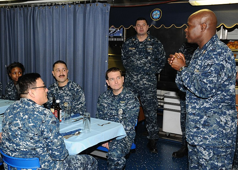 File:U.S. Sailors attend a lunch with Force Master Chief Anthony J. Johnson, right, the force master chief of Commander, Naval Air Forces Pacific Fleet, aboard the aircraft carrier USS Nimitz (CVN 68) 130111-N-KE148-015.jpg