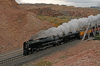 Mojave River - Union Pacific 844 pulls a steam excursion train crossing Afton Canyon, 2011.