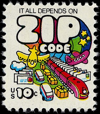 "ZIP Code - U.S. postage stamp, 1973: ""It all depends on ZIP Code"""