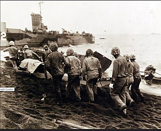 Naval Mobile Construction Battalion 133 - Fig. 14: LSM 202, B Co 133 evacuating wounded