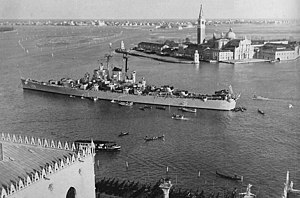 USS Fargo (CL-106) - USS Fargo at Venice in 1949.