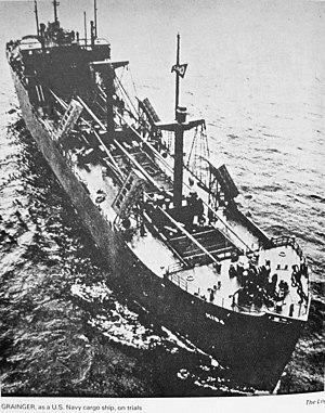 USS Grainger (AK-184) - Image: USS Grainger (AK 184) underway near her builders