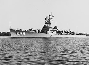 USS Hartley (DE-1029) underway in August 1957