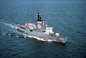 USS Moinester (FF-1097) - Image: USS Moinester (FF 1097) underway
