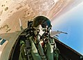US Navy 050907-N-9277A-001 A pilot assigned to Air Test and Evaluation Squadron Nine (VX-9), looks out the canopy of his F-A-18F Super Hornet.jpg