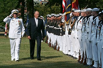 United States Navy Ceremonial Guard - King Harald V of Norway inspects the USN CG during an arrival ceremony in Washington, D.C.