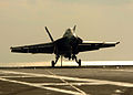 US Navy 051025-N-3488C-064 An F-A-18F Super Hornet, assigned to the Diamondbacks of Strike Fighter Squadron One Zero Two (VFA-102), prepares to catch the arresting gear cable.jpg