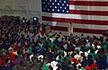 US Navy 060104-N-0685C-001 Chief of Naval Operations (CNO), Adm. Mike Mullen, addresses crew members stationed aboard the Nimitz-class aircraft carrier USS Theodore Roosevelt (CVN 71) during a New Year tour of the region.jpg