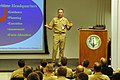 US Navy 060627-N-0924R-041 Commander, 2nd Fleet, Vice Adm. Mark P. Fitzgerald, briefs Navy and Marine Corp officers and enlisted personnel at Bataan Expeditionary Strike group (ESG) and 26th Marine Expeditionary Unit (MEU) Plan.jpg