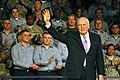 US Navy 070221-N-7883G-068 Vice President Dick Cheney waves to the audience after speaking to military personnel, family members and Department of Defense civilian employees during a visit to USS Kitty Hawk (CV 63).jpg