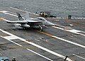 US Navy 090519-N-6125G-116 An F-A-18F Super Hornet assigned to Air Test and Evaluation Squadron (VX) 23 makes the first arrested landing aboard the aircraft carrier USS George H.W. Bush (CVN 77).jpg