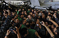 US Navy 110514-N-DR144-590 Republic of the Philippines President Benigno Aquino III meets with Filipino Sailors in the hangar bay aboard the Nimitz.jpg
