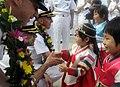 US Navy 110813-N-XG305-273 Capt. Charles Williams, U.S. 7th Fleet Chief of Staff, is greeted by Korean children.jpg