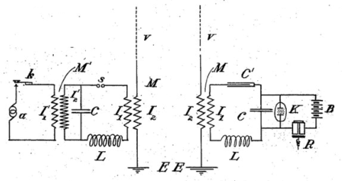 stone's inductively coupled transmitter (left) and receiver (right)  patented 8 february 1900