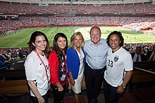 Hamm (second from left), with members of the United States delegation at the 2015 FIFA Women's World Cup Final in Vancouver, Canada