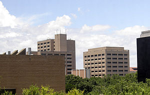 Cockrell School of Engineering - Robert Lee Moore Hall, Engineering Science Building, and Ernest Cockrell Jr. Hall as seen from east of the campus.