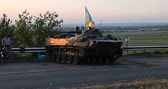 Battle of Kramatorsk - Ukrainian paratrooper roadblock with a BMD-2 between Kramatorsk and Sloviansk on 11 May 2014