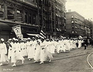 """Black Cross Nurses - 1 August 1922, Manhattan, New York – """"Black Cross Nurses in the giant parade through Harlem which today opened the thirty-day annual world convention of the Universal Negro Improvement Association (UNIA)"""""""