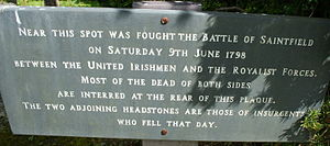 Battle of Saintfield - Plaque commemorating the battle.