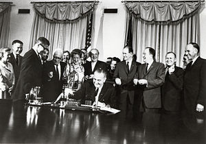 Food Stamp Act of 1964 - U.S. President Lyndon B. Johnson signing the Food Stamp Act of 1964