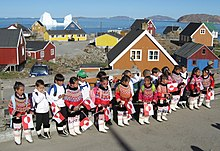 First day in shool for the new pupils in first grade at the Prinsesse Margrethe School in Upernavik, Greenland. All pupils are wearing the national costumes of Greenland on this special day.