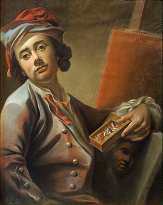 Pastel - Georg Anton Urlaub (1713–1759) holding a box of pastels in his hands. Selfportrait, 1735