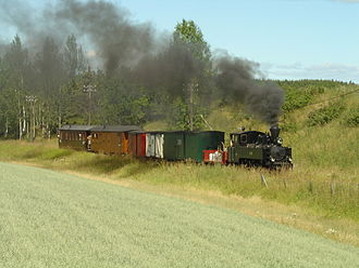 Urskog–Høland Line - Loco No. 7 Prydz with a mixed train on the Urskog–Hølandsbanen, 18 July 2006
