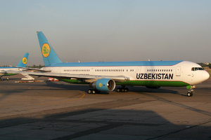 Uzbekistan Airways destinations - A Uzbekistan Airways Boeing 767-300ER at Tashkent International Airport, the airline's hub.