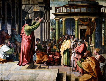 Paul the Apostle delivering the Areopagus sermon in Athens. Raphael, 1515 V&A - Raphael, St Paul Preaching in Athens (1515).jpg