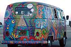 Hippiekultur: Bemalter VW-Bus
