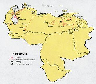 History of the Venezuelan oil industry - Petroleum map of Venezuela, 1972