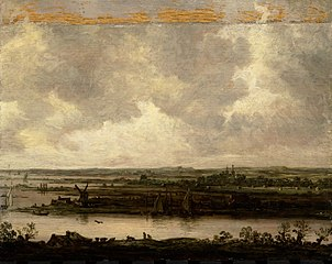 Panoramic view of the river Spaarne and the Haarlemmermeer