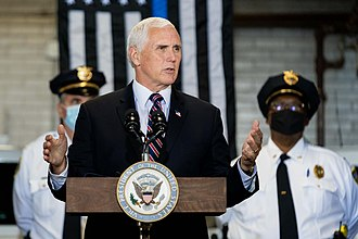 Pence speaks to police officers in Youngstown, Ohio, June 25, 2020. Vice President Pence in Ohio (50057856658).jpg